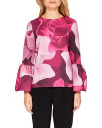 Ted Baker - Pink Toepal Porcelain Rose Bell Sleeve Top - Lyst