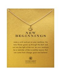 Dogeared - Metallic New Beginnings Happy Lotus Reminder Pendant Necklace - Lyst