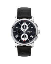 Montblanc - Black 115123 Men's 4810 Chronograph Leather Strap Watch for Men - Lyst