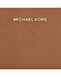 Michael Kors - Brown Michael Jet Set Travel Leather Multi-function Purse - Lyst
