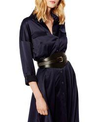 Karen Millen - Black Leather Wide Buckle Waist Belt - Lyst