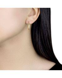 Ib&b - Metallic 9ct Yellow Gold Creole Lever Hoop Earrings - Lyst