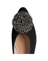 L.K.Bennett - Black Gabrielle Almond Toe Crystal Embellished Flat - Lyst