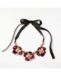 John Lewis - Black Gemstones Abstract Flower Glass Necklace - Lyst