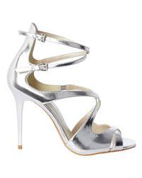 Karen Millen | Metallic Strappy Stiletto Heeled Sandals | Lyst