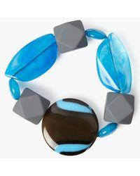One Button - Blue Statement Bead Stretch Bracelet - Lyst