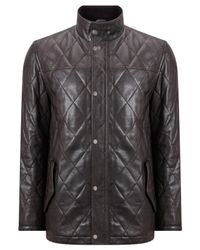 John Lewis | Brown Quilted Leather Jacket | Lyst