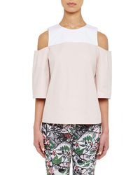 Ted Baker - Pink Colour By Numbers Divna Cut Out Cold Shoulder Top - Lyst