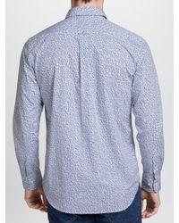 Gant - Blue Hazy Flowers Long Sleeve Shirt for Men - Lyst