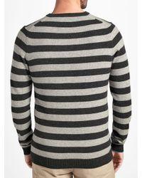 John Lewis - Gray Italian Cashmere Stripe V-neck Jumper for Men - Lyst