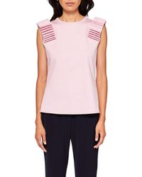 Ted Baker - Pink Isana Sculpted Shoulder Top - Lyst
