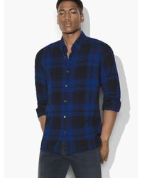 John Varvatos - Blue Plaid Casual Button-down Shirt for Men - Lyst