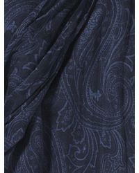 John Varvatos - Blue Woven Crinkled Paisley Scarf for Men - Lyst