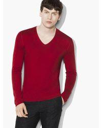 John Varvatos | Red Silk Cashmere V-neck for Men | Lyst
