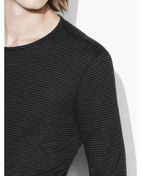 John Varvatos - Black Striped Long Sleeve Crewneck for Men - Lyst