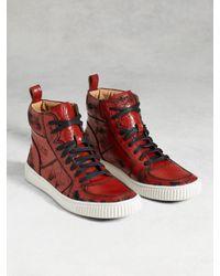 John Varvatos | Red Bedford High Top Sneaker for Men | Lyst