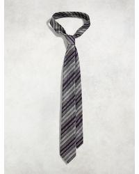 John Varvatos - Blue Contrast Stripe Skinny Tie for Men - Lyst