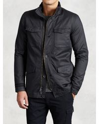 John Varvatos | Black Coated Cotton Military Coat for Men | Lyst