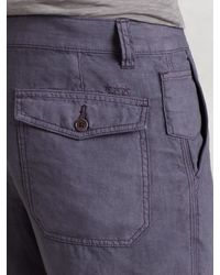 John Varvatos - Gray Linen Short for Men - Lyst
