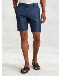 John Varvatos - Blue Cotton Linen Short for Men - Lyst