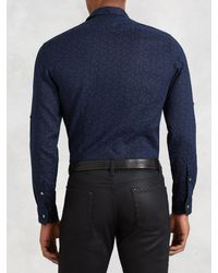 John Varvatos - Blue Short Sleeve Shirt for Men - Lyst