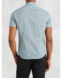 John Varvatos - Blue Cotton Short Sleeve Shirt for Men - Lyst