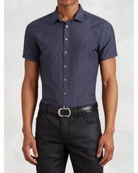 John Varvatos | Blue Cotton Silk Short Sleeve Shirt for Men | Lyst