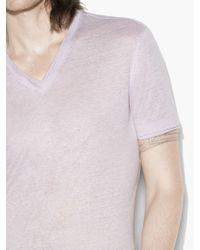 John Varvatos - Purple V-neck Tee With Jersey Details for Men - Lyst
