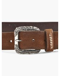 John Varvatos - Brown 35mm Chain Embedded Belt W/ Feather Buckle for Men - Lyst