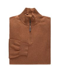 Jos. A. Bank - Brown Signature Pima Cotton Quarter-zip Sweater Big And Tall for Men - Lyst