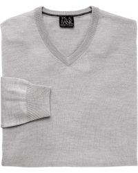 Jos. A. Bank - Gray Traveler Merino V Neck Sweater Big And Tall for Men - Lyst