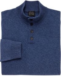 Jos. A. Bank - Blue Executive Collection Lambswool 4-button Mock Neck Sweater for Men - Lyst