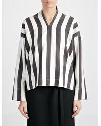 JOSEPH - Black Wide Stripe Shirting Denver Blouse - Lyst