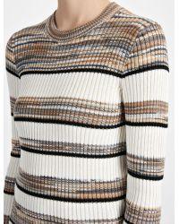 Joseph - Gray Techno Cotton Stripe Sweater - Lyst
