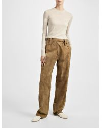 JOSEPH - Natural Cashmere Suede March Trousers - Lyst