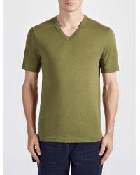 JOSEPH - Green Lyocell Jersey V Neck Tee for Men - Lyst