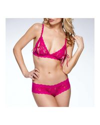 Hanky Panky - Pink Signature Lace Open Crotch Cheeky Hipster - Lyst