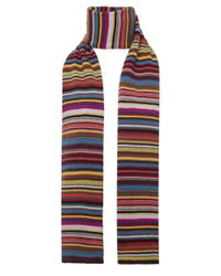 Paul Smith - Blue Multicoloured Striped Wool Blend Scarf for Men - Lyst