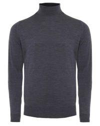 John Smedley - Gray Standard Fit Merino Wool Roll Neck Cherwell Jumper for Men - Lyst