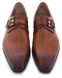 Magnanni Shoes - Brown Perforated Leather Monk Strap Shoes for Men - Lyst