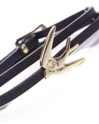 McQ Alexander McQueen - Black Mini Leather Swallow Bracelet - Lyst