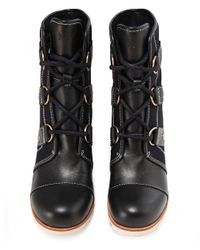 Sorel - Black Joan Of Arctic Wedge Boots - Lyst