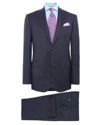 Corneliani - Blue Virgin Wool Prince Of Wales Check Suit for Men - Lyst