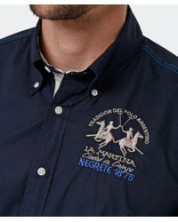 La Martina - Blue Long Sleeved Logo Shirt for Men - Lyst