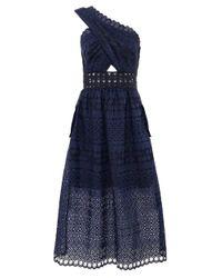 b56c2a2f58fa Lyst - Self-Portrait One Shoulder Cutout Midi Dress in Blue