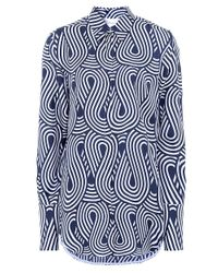 Victoria, Victoria Beckham - Blue Looped Wave Silk Shirt - Lyst