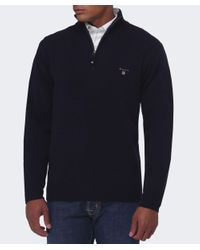 Gant | Blue Lambswool Zip Jumper for Men | Lyst