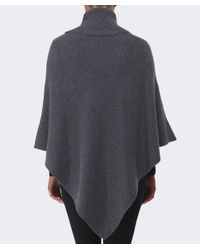 Cocoa Cashmere - Gray Ribbed Cashmere Poncho - Lyst