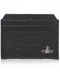 Vivienne Westwood - Black Cracked Leather Orb Card Holder for Men - Lyst