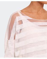 Crea Concept - Gray Linen Mesh Stripe Jumper - Lyst